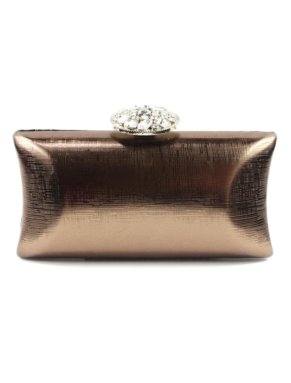 Metallic Evening Bag with Rhinestone Decor