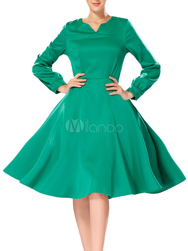 Green Ruffled Vintage Dress