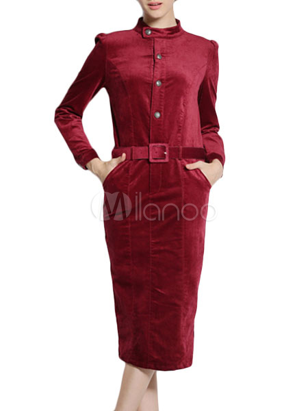 Stand Collar Velvet Vintage Dress