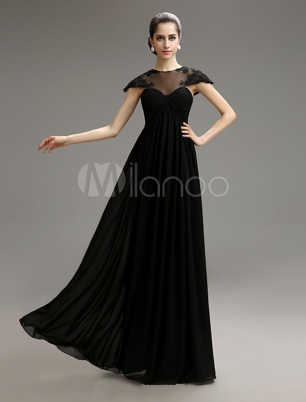 Black Jewel Neck Chiffon Evening Dress with Sheer Lace Milanoo (Wedding Evening Dresses) photo