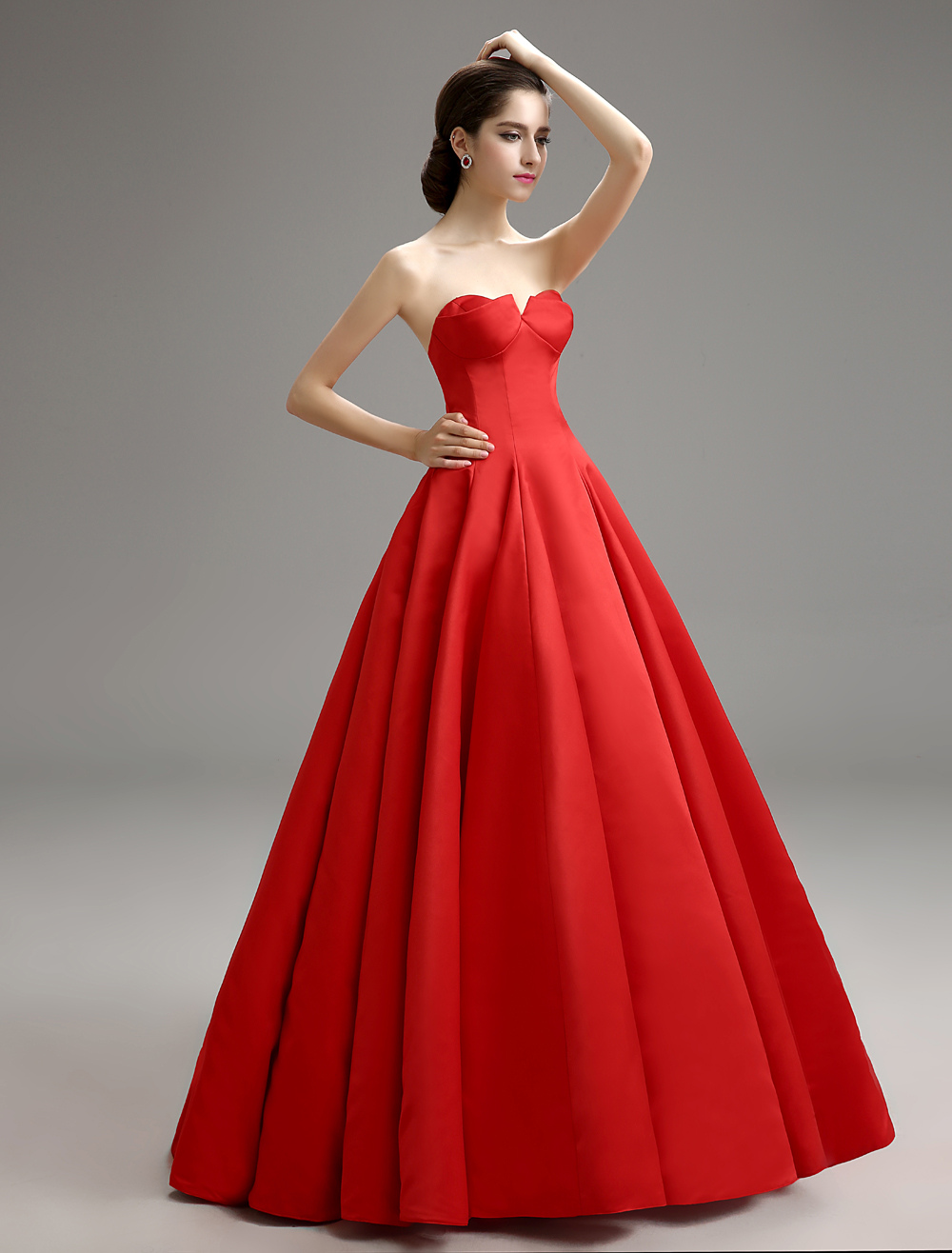 Red Vintage Strapless Pleated Ball Gown With Satin Milanoo (Wedding Prom Dresses) photo