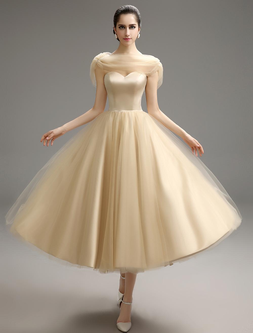 Vintage A-line Tea-Length Bridesmaid Dress with Beaded Satin