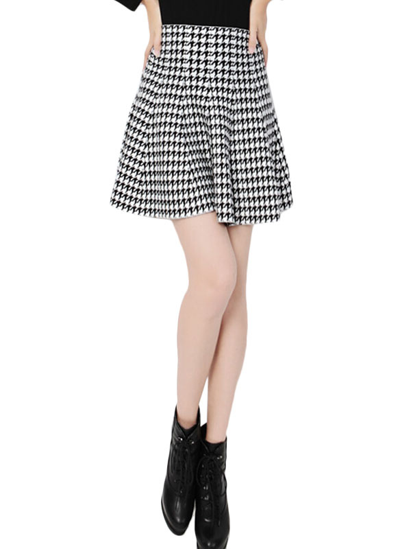 high waisted pleated skirt with plaid pattern milanoo