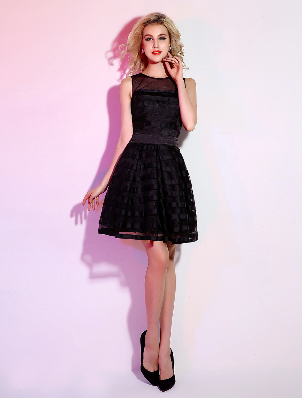 Black Short Cocktail Dress with Jewel Neck Piping Tulle (Wedding Little Black Dresses) photo