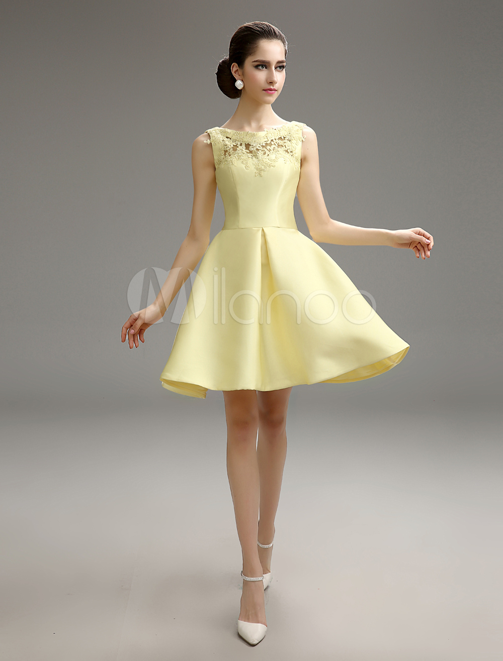 Used Wedding Dresses Under 100 Jewellery : Yellow short flared lace bridesmaid dress milanoo