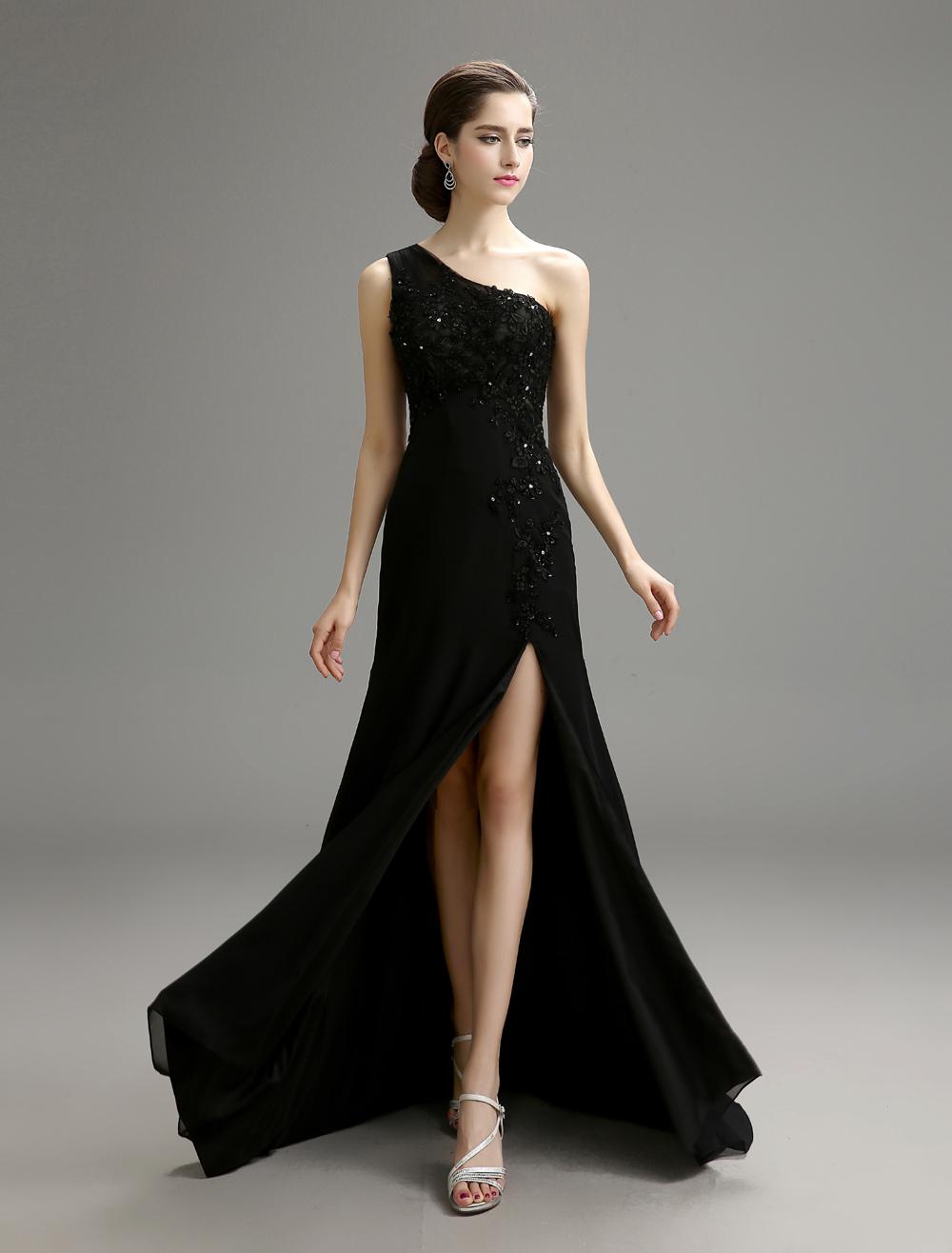 Black Wedding Dress One-Shoulder Chiffon Dress with High Slit Detail photo