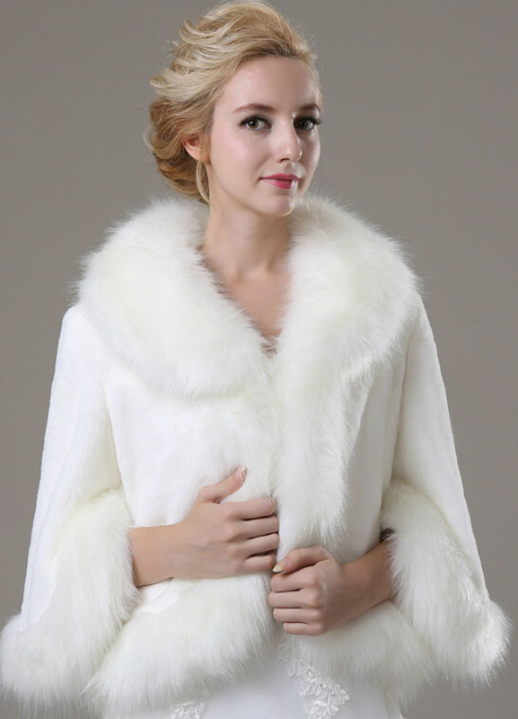 Long Sleeve Faux Fur Wedding Shawl For Bride $69.99 AT vintagedancer.com