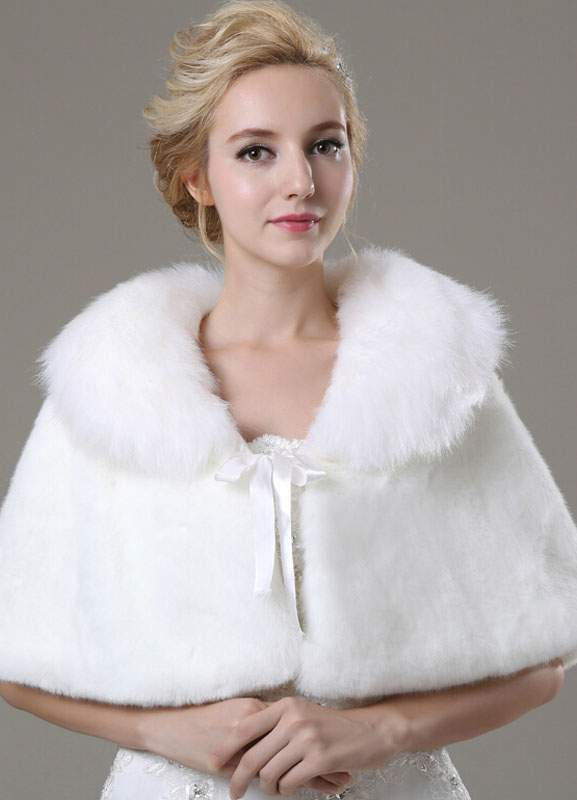 Lace Up Faux Fur Shawl For Bride $33.99 AT vintagedancer.com