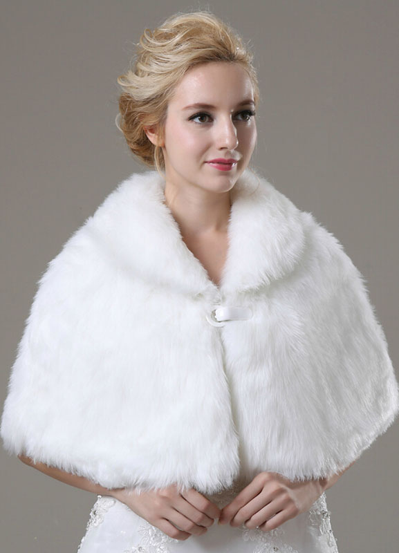 Faux Fur Wedding Shawl For Bride $22.99 AT vintagedancer.com