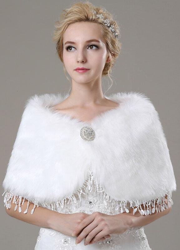 Faux Fur Bridal Shawl with Lace $22.99 AT vintagedancer.com