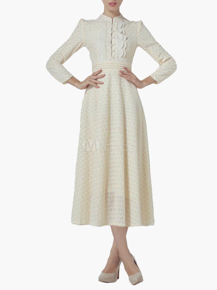 robe longue en dentelle beige moulante avec applique. Black Bedroom Furniture Sets. Home Design Ideas
