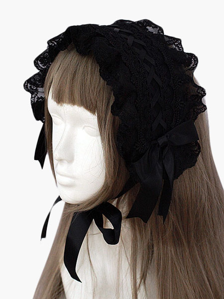 Black Lace Gothic Lolita Headdress $20.99 AT vintagedancer.com