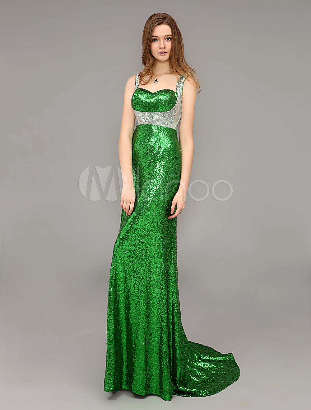 Green Long Signed Open Back Designer Evening Dress With Train Milanoo (Wedding Evening Dresses) photo