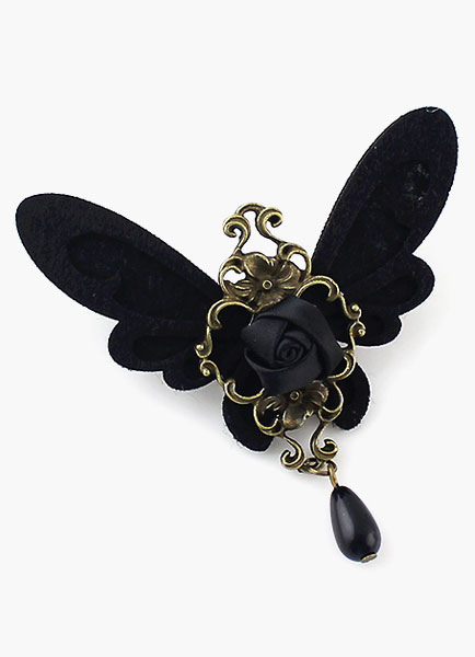 Gothic Black Butterfly Drop Brooch with Rose Flower