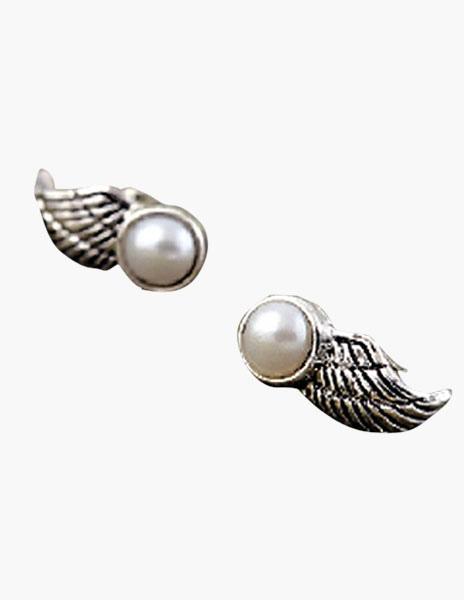 Vintage Angel Wings Pearl Ear Stud
