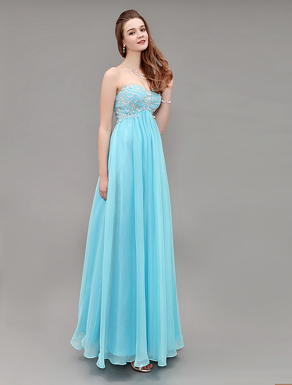 Blue Sweetheart Long Chiffon Prom Dress With Embroidered Bodice (Wedding Prom Dresses) photo