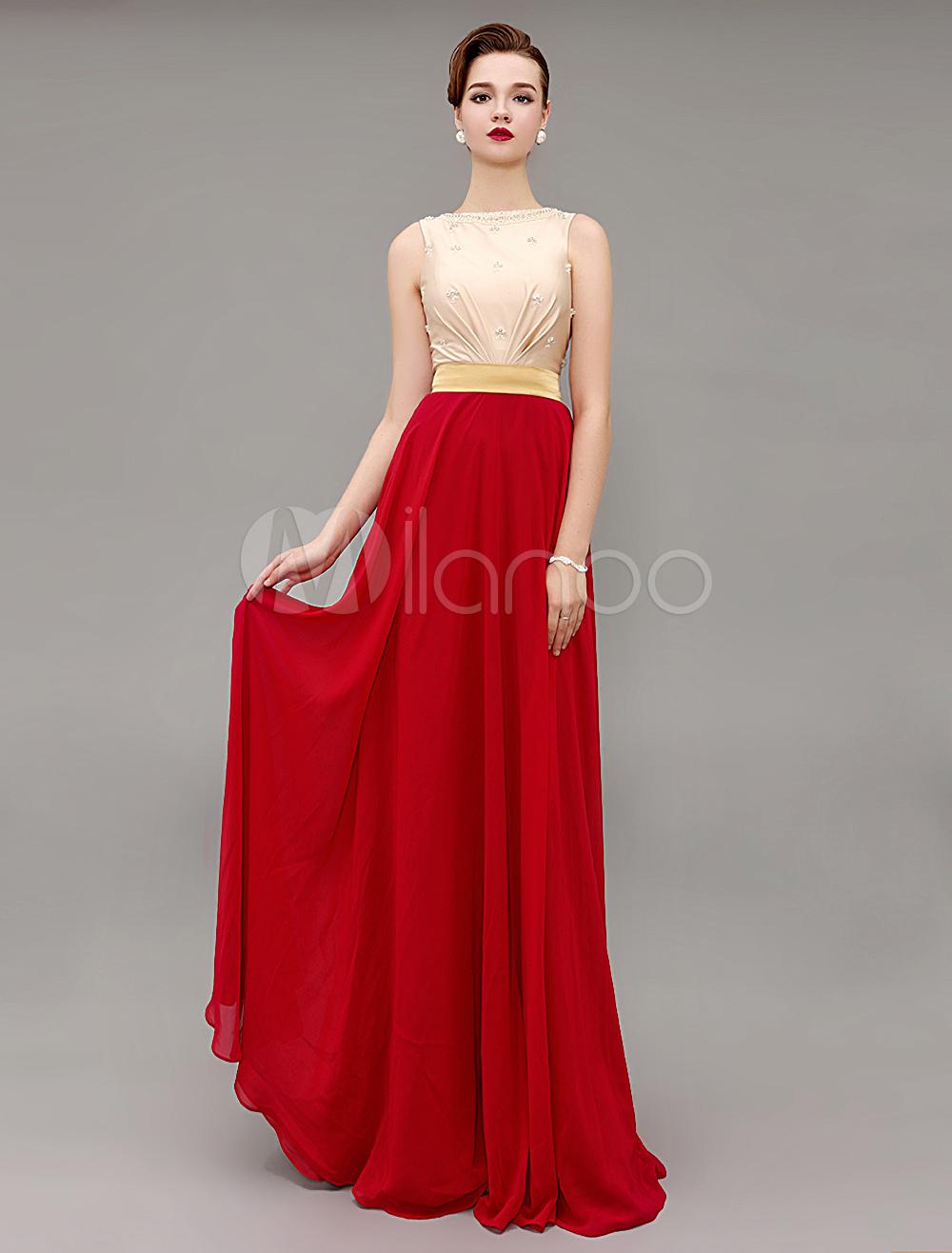 Red Prom Dresses 2018 Long Evening Dress Two Tone Bateau Beading Sash Party Dress (Wedding Evening Dresses) photo