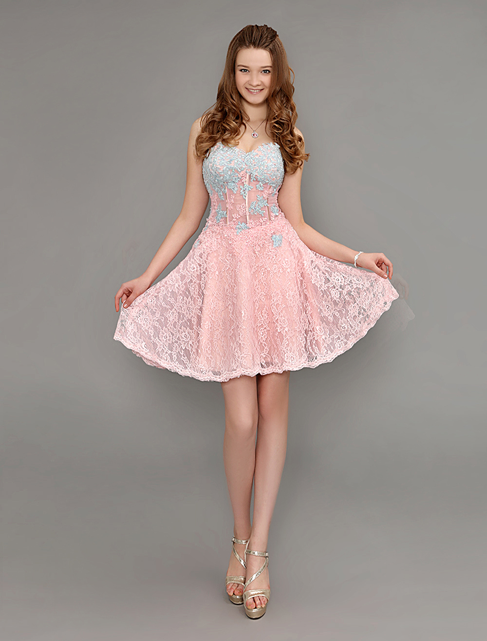 Lace Cocktail Dress Peach Sweetheart Short Homecoming Dress With Sheer Waist (Wedding Cocktail Dresses) photo