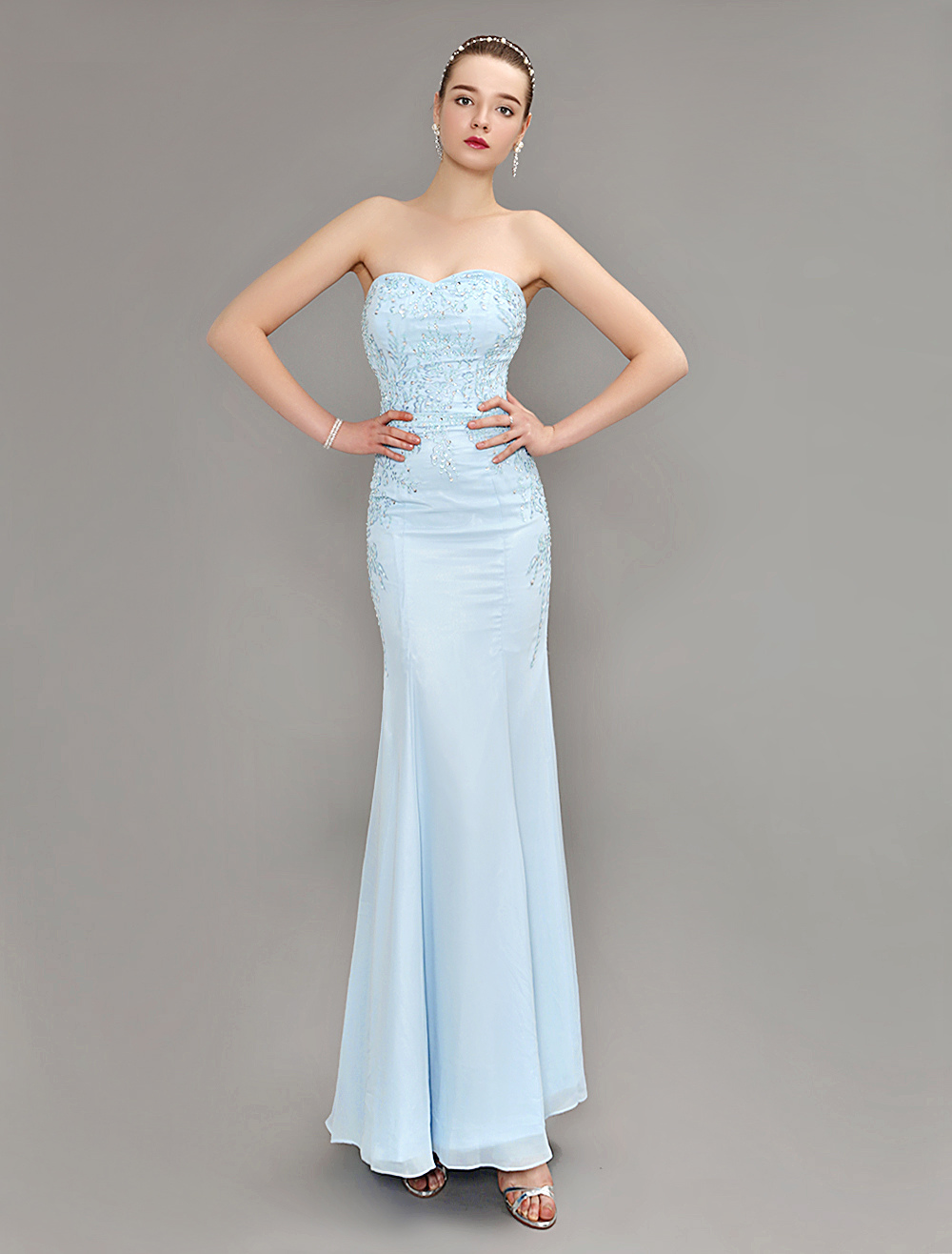 Mermaid Evening Dress Pastel Blue Strapless Party Dress Beaded Floor Length Chiffon Prom Dress (Wedding Evening Dresses) photo