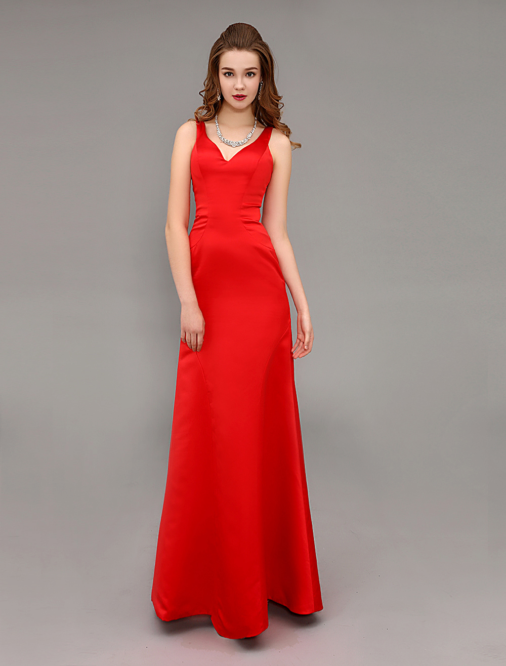 Red Satin V-neck Long Evening Dress With Open Back (Wedding Cheap Party Dress) photo