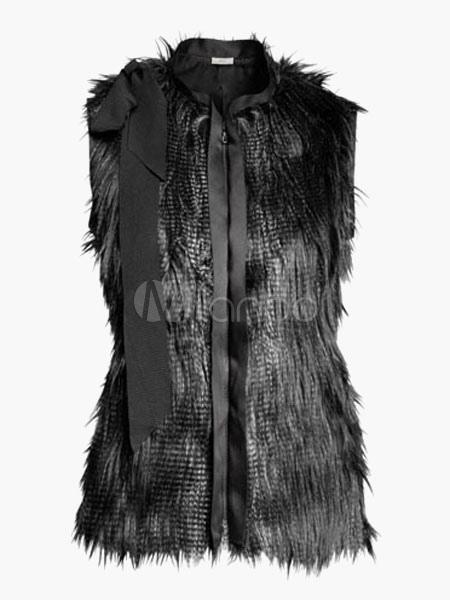 Gilet noir en fausse fourrure avec ruban col montant - Gilet fausse fourrure noir ...