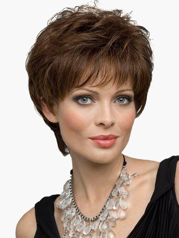 Flaxen Short Curly Human Hair Wig image