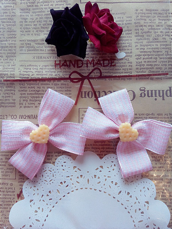 Pink Bow & Cookie Hairpins