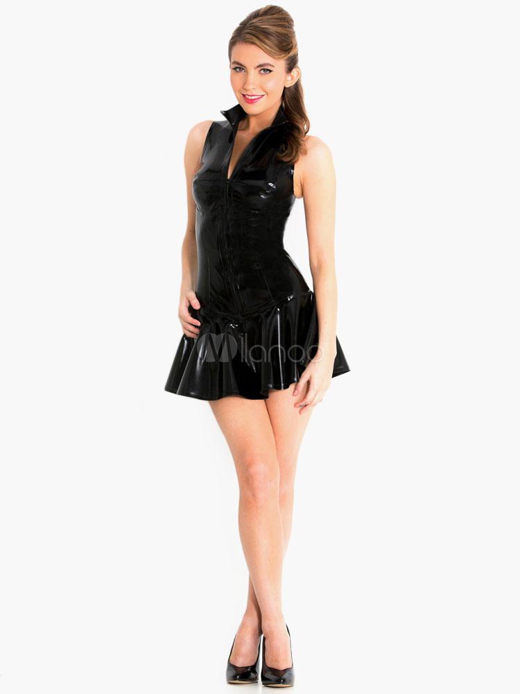 club kleid schwarz mit rei verschluss sexy kleid kurz. Black Bedroom Furniture Sets. Home Design Ideas