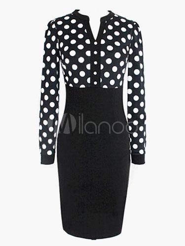 Polka Dot V-neck Vintage Dress (Women\\'s Clothing Vintage Dresses) photo