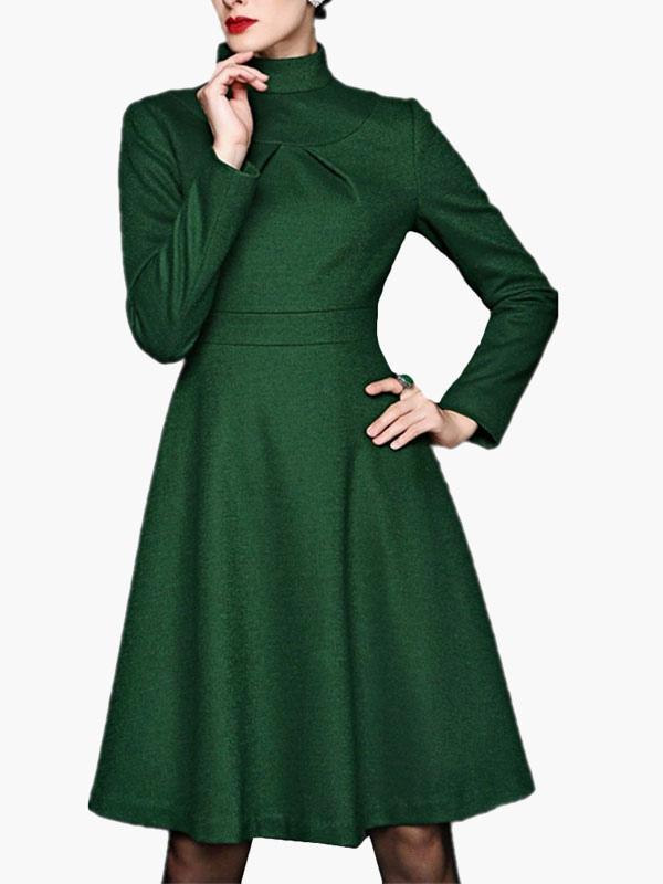 Retro kleid mit stehkragen in gr n for Vintage kleider kinder