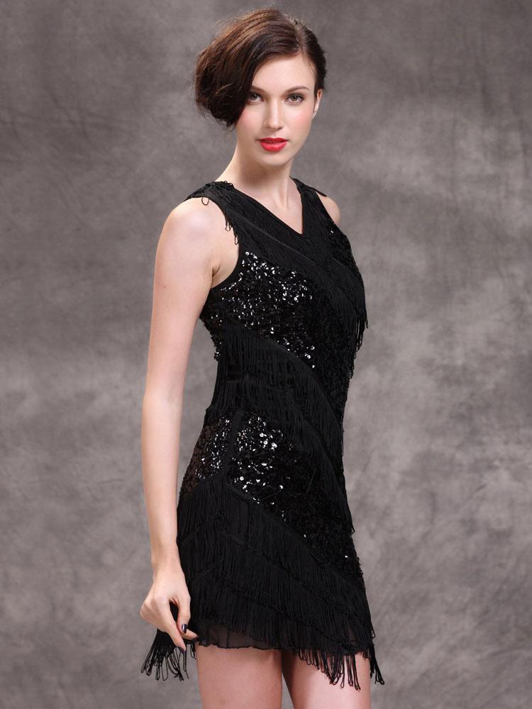 robe de danse latine avec paillettes noire avec frange. Black Bedroom Furniture Sets. Home Design Ideas