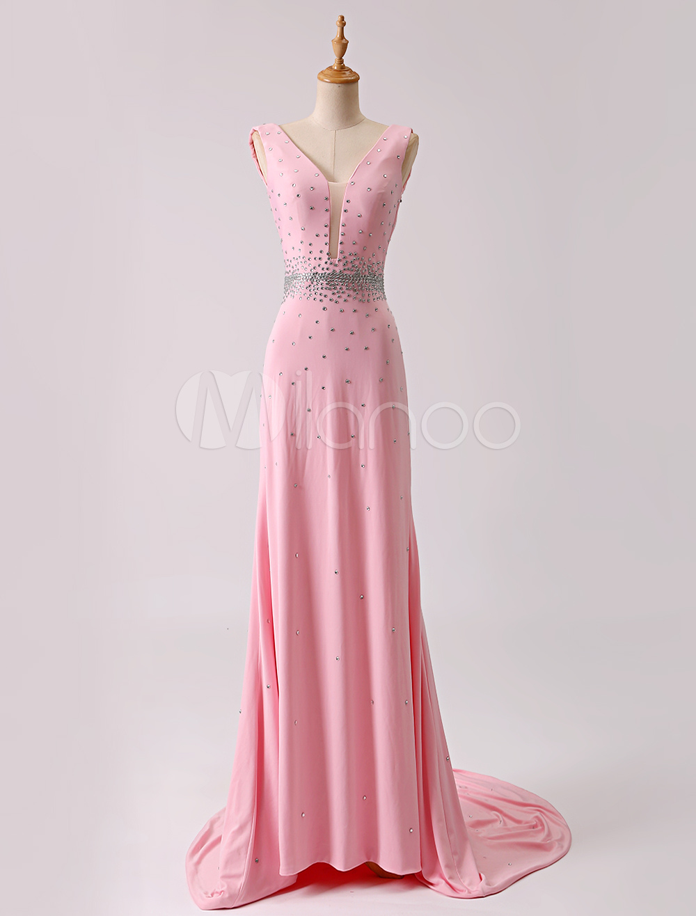 Pink Beaded V-neck Open Back Jersey Evening Dress With Train (Wedding Prom Dresses) photo