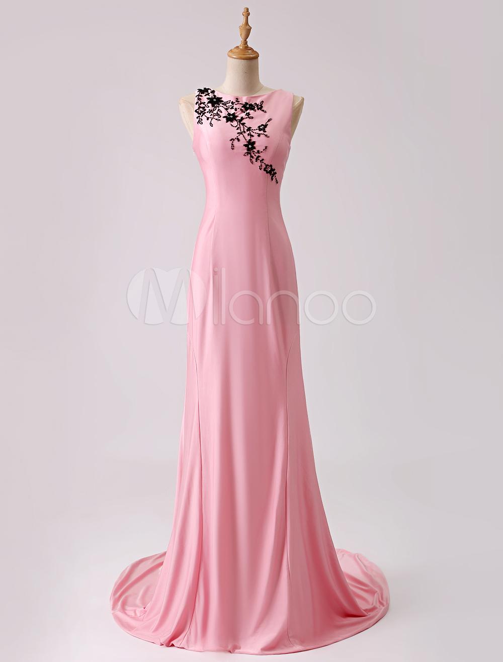 Pink Jewel Neck Beading Evening Dress With Train (Wedding Evening Dresses) photo