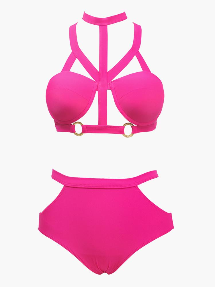 Vestidos De Baño Estilo Halter:Traje de baño con escote halter – Milanoocom
