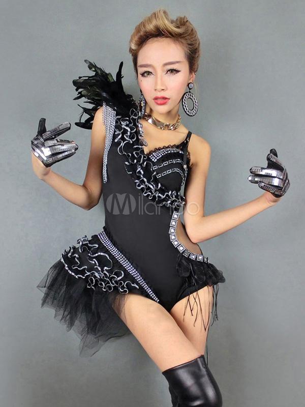 Feather decor black jazz dance costume milanoo com