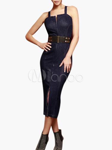 Low Back Zipper Denim Dress