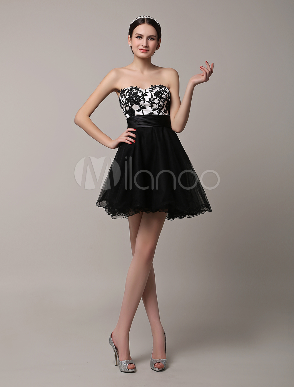 2018 Short Black Strapless Tulle Dress With Applique Bodice (Wedding Cheap Party Dress) photo
