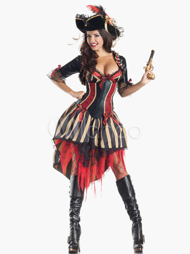 Black Womans Pirate Halloween Cosplay costume