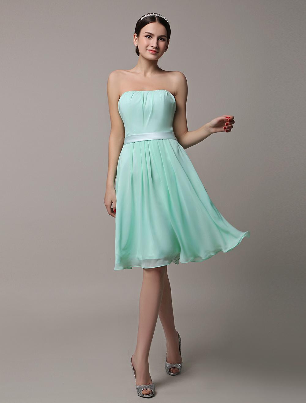 2017 Short Mint Green Strapless Bridesmaid Dress With Sash