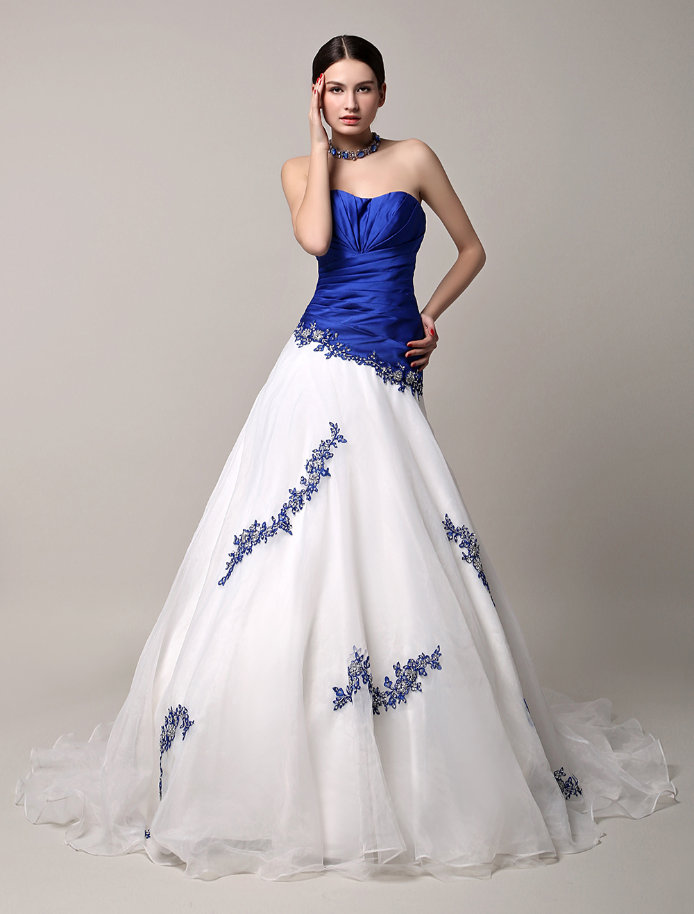 Blue Wedding Dress Lace Beading Sweetheart A-line Chapel Train Tulle Bridal Gown Backless Princess Dress Milanoo photo