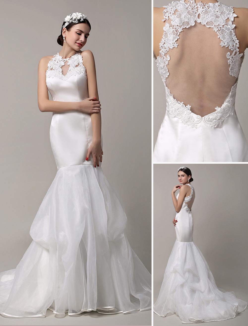 product jewel lace wedding dress with halter neckline