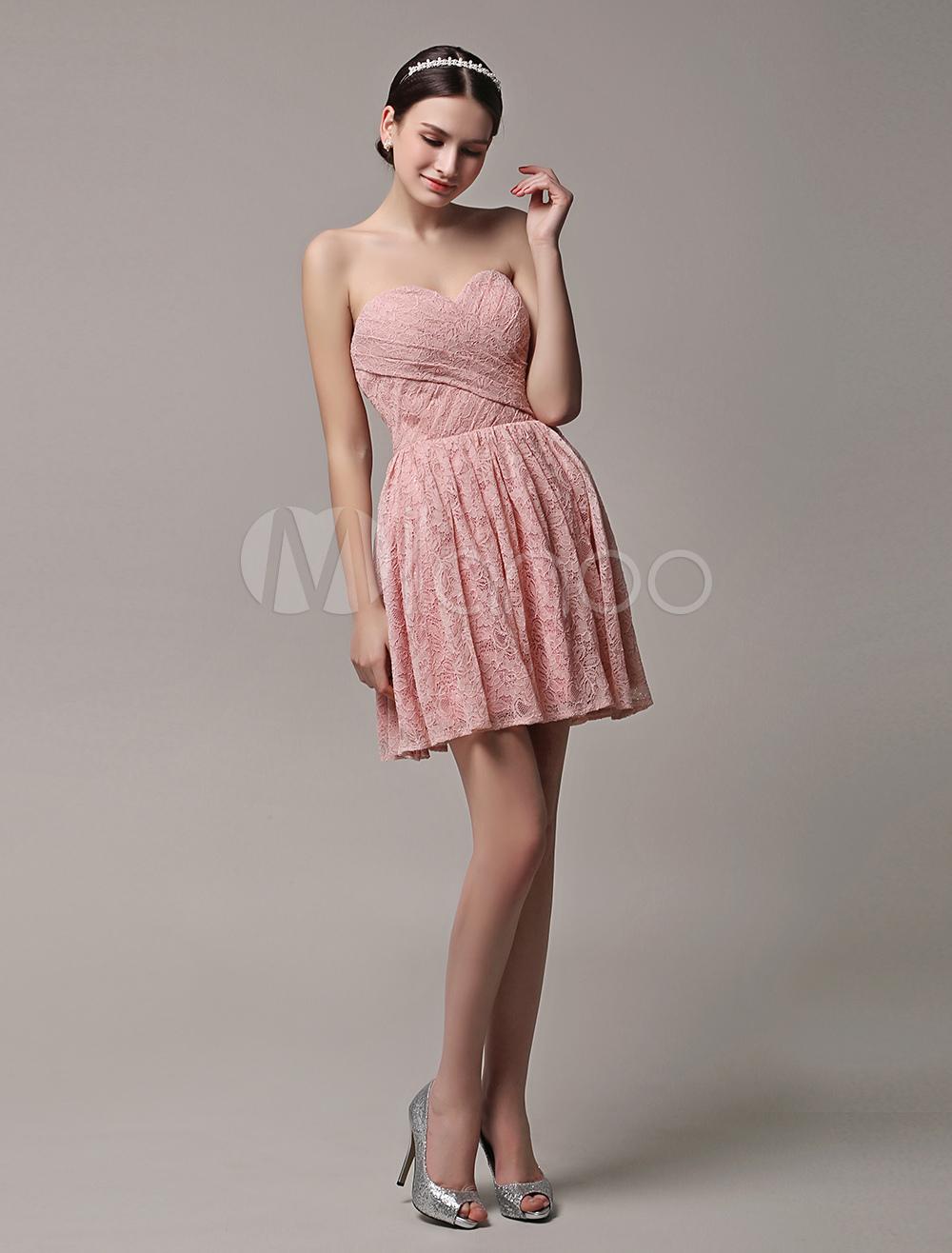 Strapless Bridesmaid Dress Lace Pleated Blush Pink Short Wedding Party Dress (Bridesmaid Dresses) photo