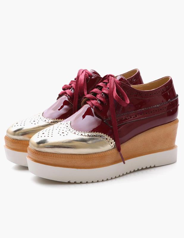 Square Toe Patent PU Wedge Shoes thumbnail