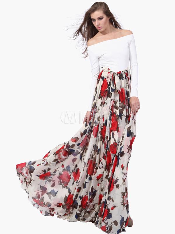 Robe longue en chiffon multicolore imprim fleuri hors de for Hors des robes de mariage san francisco