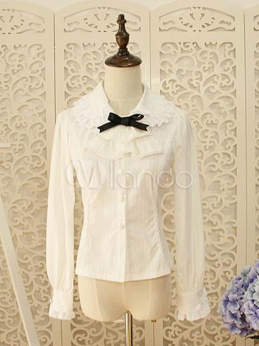 White Cotton Ruffles Lace Lolita Blouse $41.99 AT vintagedancer.com
