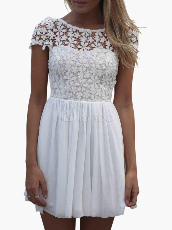White Lace Dress Vintage Style Women's Chiffon Cut Out Backless Short Sleeve Skater Dress (Women\\'s Clothing Lace Dresses) photo