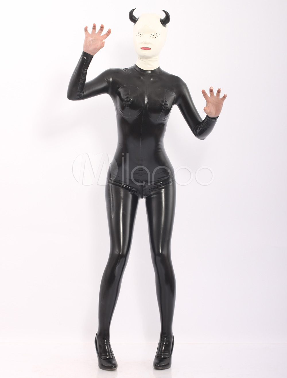 Black Latex Catsuit with Devil Pattern Hood