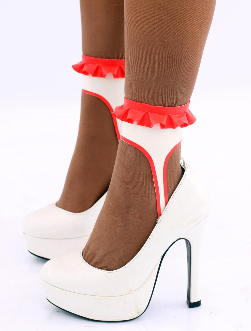 Red White Latex Stockings