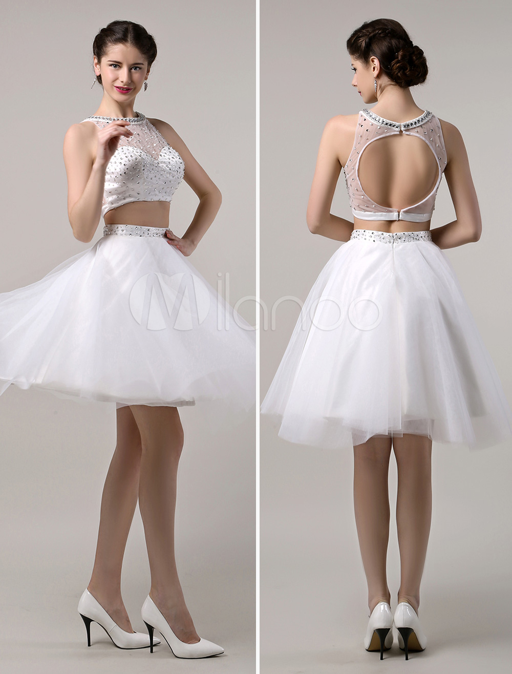 Two Piece Prom Dresses 2018 Short White Prom Dress Crop Top Cutout Back With Tulle Tutu Skirt (Wedding) photo