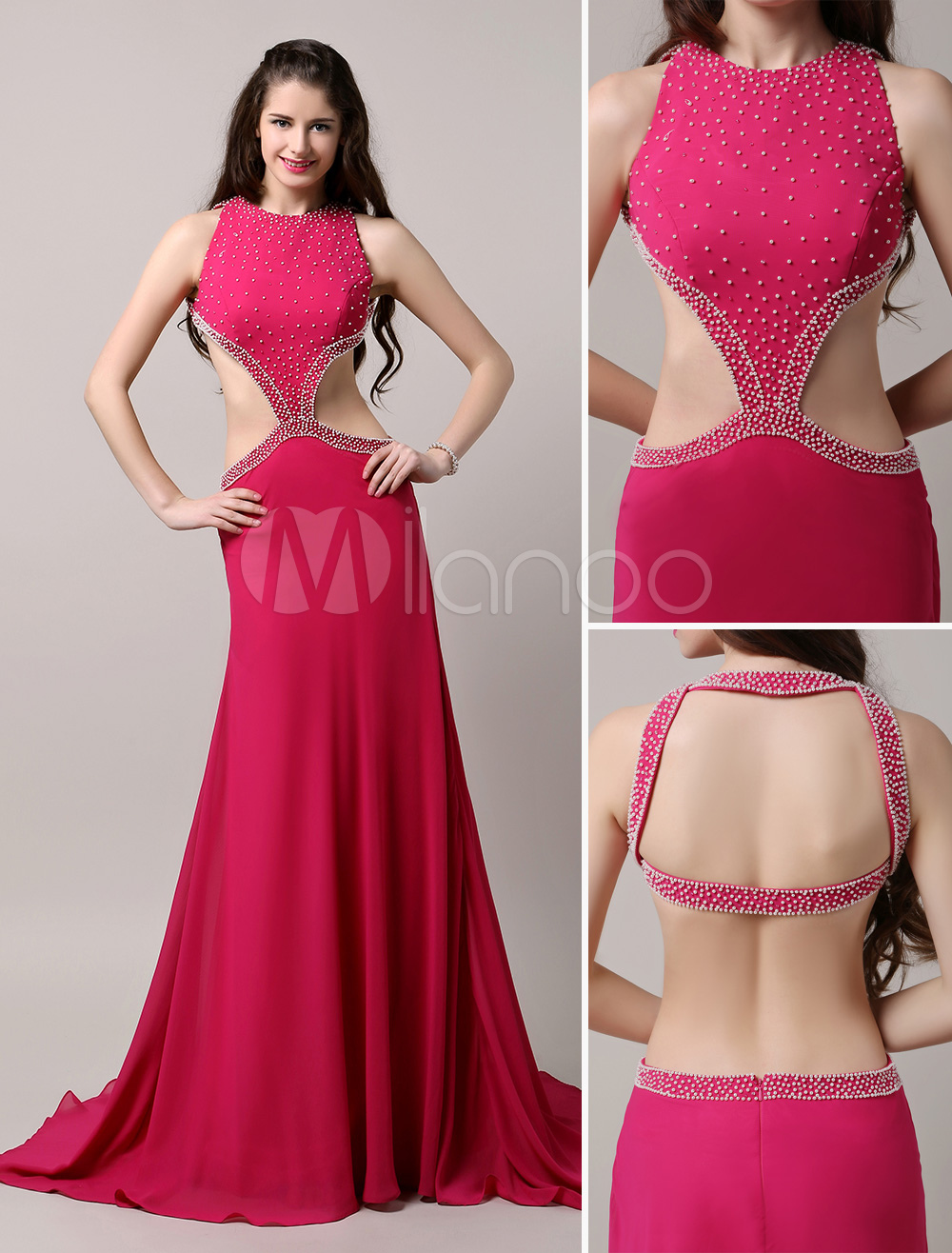 Hot Pink Evening Dress Backless Side Cut Out Party Dress Beading Chiffon Homecoming Dress With Sweep Train (Wedding Evening Dresses) photo